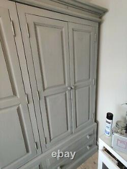 Large 4 door + 4 drawer solid pine shabby chic wardrobe