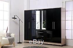Large 4 door high gloss mirrored wardrobe Black, White 3 Drawer