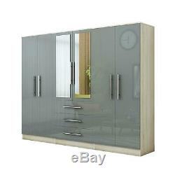 Large 4 door high gloss mirrored wardrobe GREY 3 Drawer NEW COLOUR