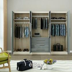 Large 4 door high gloss mirrored wardrobe GREY 3 Drawers NEW COLOUR