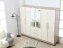 Large 4 door high gloss mirrored wardrobe Grey, Black, White 3 Drawer