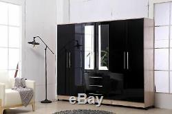 Large 4 door high gloss mirrored wardrobe WHITE 3 Drawers