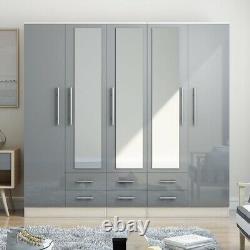 Large 5 Door mirrored high gloss GREY fitment wardrobe, 6 drawer