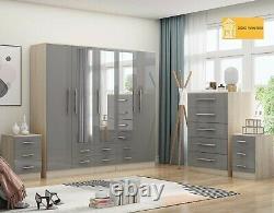 Large 5 door bedroom set, wardrobe, Chest, 2 x Bedside drawer, GREY HIGH GLOSS