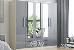 Large 6 door mirrored high gloss BLACK, WHITE, GREY fitment wardrobe, 3 drawer
