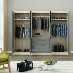 Large 6 door mirrored high gloss GREY wardrobe, 3 drawer, FREE SHIPPING