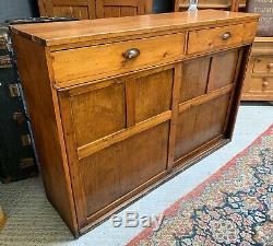 Large Antique Shop Counter Haberdashery Fitting Sliding Doors and Drawers