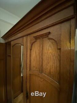 Large Antique Solid Oak Wardrobe Triple Door Drawers