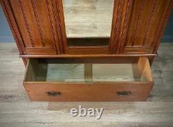 Large Antique Victorian Walnut Mirror Door Wardrobe With Base Drawer