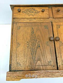 Large Antique circa (1895) 2 Drawer 2 Door Golden Oak Wood Spice Box Cabinet