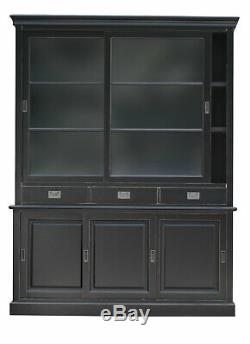 Large Black Wood Bookcase Display Dresser with Sliding Glass Doors and Drawers