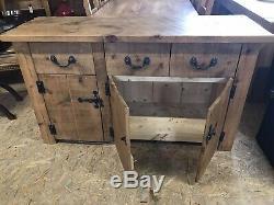 Large Chunky Rustic Pine 3 Drawer/3door Sideboard