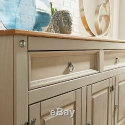 Large Country Sideboard Wooden Cabinet Rustic Solid Wood Furniture Drawers Doors