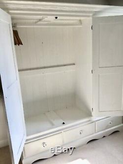 Large Cream / Ivory F&b Painted Pine Wardrobe, 3 Doors, Drawers, Crystal Knobs