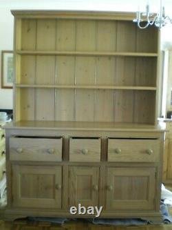 Large Custom Made Solid Wood Waxed Pine Welsh Dresser Shabby Chic Kitchen