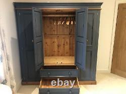Large Dark Blue Painted Solid Wood Quadruple 4 Door Wardrobe With Drawers