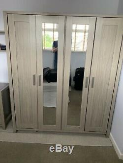 Large Double Wardrobe 2 Mirrored Doors Matching 3 Drawer Chest In grey marl Used