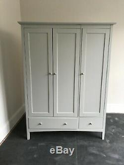 Large French Country style duck egg blue wooden wardrobe 3 doors 2 drawers