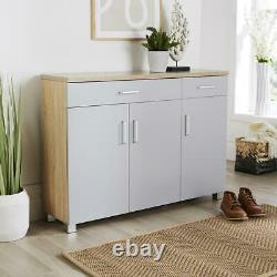Large Grey Oak Wide Shoe Cabinet Storage 3 Door 2 Drawer Cupboard Shoe Tidy Unit