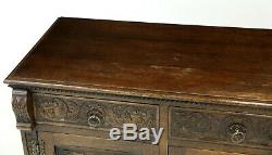 Large Heavily Carved Sideboard 4 Drawers 4 Cupboard Doors FREE UK Delivery