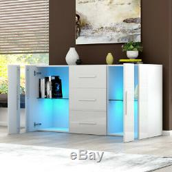 Large High Gloss 2 Doors 3 Drawer Sideboard Cupboard Cabinet Matt Body with LED