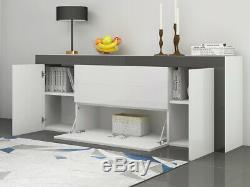 Large High Gloss Sideboard Cabinet with 2 Doors 2 Drawers & 2 Flaps Cupboard BK