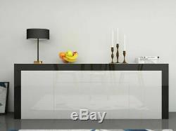 Large High Gloss Sideboard Cabinet with 2 Doors 2 Drawers & 2 Flaps Cupboard UK