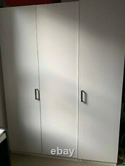 Large IKEA PAX 3-Door Wardrobe White 120Wx60Dx201Hcm with rail, drawers, shelves