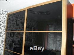 Large Ikea Pax Black Glass Sliding Door Wardrobe With Drawers & Rails VGC