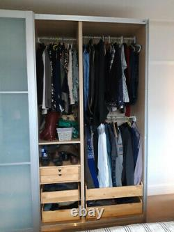 Large Ikea Pax Lyngdal Wardrobe Sliding Glass Doors with Drawer Inserts