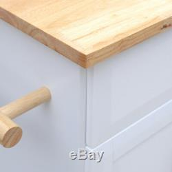 Large Kitchen Island Trolley Cart on Wheels with Cupboard Drawer Storage Table