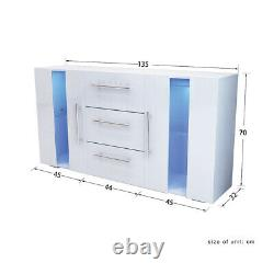 Large MDF Sideboard High Gloss 2 Doors & 3 Drawers TV Stand RGB LED Cabinet Unit
