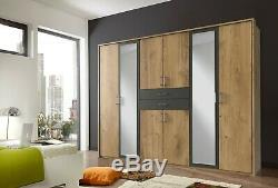 Large Mirror Door Wardrobe with Drawers German'Diver' Planked Oak & Grey