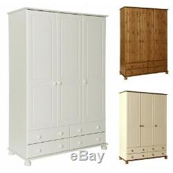 Large Modern 3 Door Triple Combi Wardrobe with 4 Drawers in Cream Pine and White
