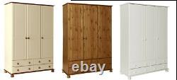 Large Modern Solid Pine/White/3 Door Triple Combi Bedroom Wardrobe/4 Drawers