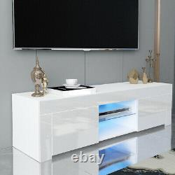 Large Modern TV Unit Cabinet Stand Wood High Gloss Doors with LED Lights Drawers