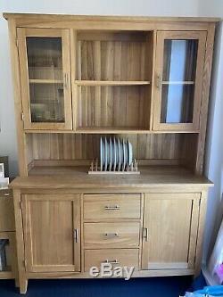 Large Natural Solid Oak Dresser Glazed Display Cabinet + 3 Drawer/2 Door Base