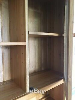 Large Natural Solid Oak Dresser Glazed Display Cabinet + 3 Drawers + 3 Door Base