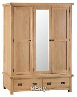 Large Oak 3 Door 2 Drawer Triple Wardrobe / Oak Large Wardrobe With Mirror