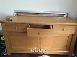 Large Oak Sideboard 3 Drawer 2 Sliding Doors And Lamp Table