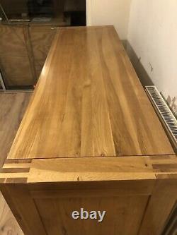 Large Oak Sideboard Solid Wood Light Oak 2 Doors and 3 Drawers Storage Cupboard