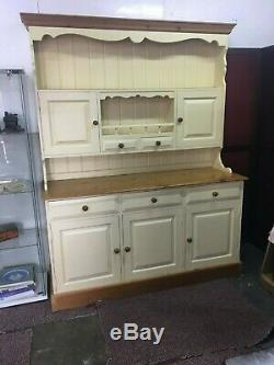 Large Painted Pale Yellow Pine Kitchen Dresser 5 drawers / 5 Cupboard doors