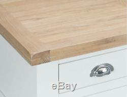 Large Painted Sideboard In White, With Solid Oak Top, 4 Door / 2 Drawer