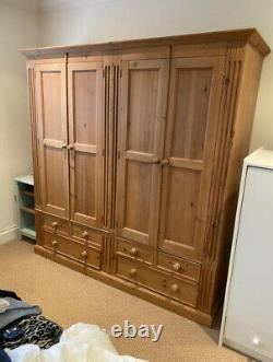 Large Pine Double 4 Door 4 Drawer Wardrobe