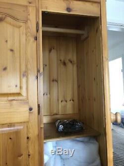 Large Pine Wardrobe 3 Doors With 2 Drawers