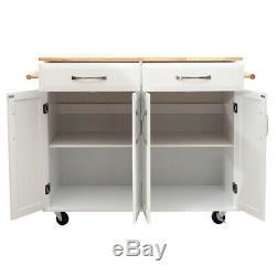 Large Rolling Kitchen Trolley Wood Cart Islands Storage Cabinet WithShelves/Drawer