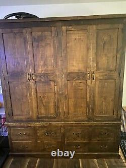 Large Rustic Plank Wardrobe 4 Doors 8 Drawers
