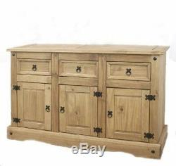 Large Rustic Sideboard Antique Solid Wood Cabinet Unit Drawers Cupboards Doors
