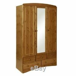 Large Scandinavian 3 Door/5 Drawer Solid Pine Mirrored Bedroom Triple Wardrobe
