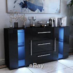 Large Sideboard Cabinet High Gloss Front Chest of 3 Drawer 2 Door Cupboard Black